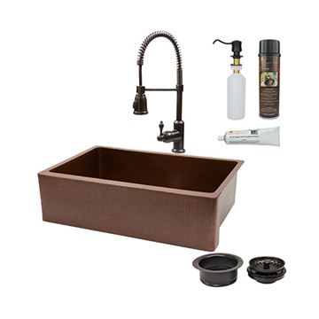 Premier Copper 33 Inch Antique Copper Kitchen Single Basin Apron Sink & Faucet Package