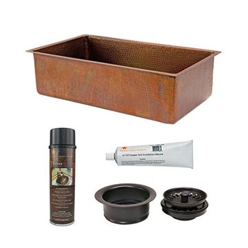 Premier Copper 33 Inch Antique Copper Kitchen Single Bowl Sink & Accessory Package