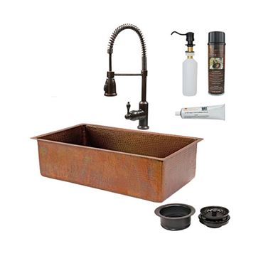 Premier Copper 33 Inch Antique Copper Kitchen Single Bowl Sink & Faucet Package