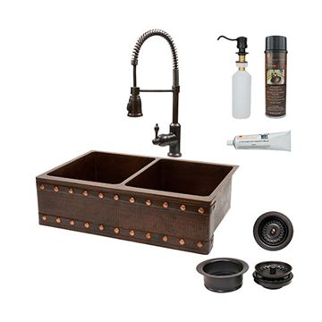 Premier Copper KSP4_KA50DB33229BS 33 Inch Barrel Strap 50/50 Copper Kitchen Double Bowl Apron Sink & Faucet Package