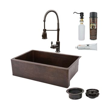 Premier Copper KSP4_KASDB33229 33 Inch Copper Kitchen Single Basin Apron Sink & Faucet Package