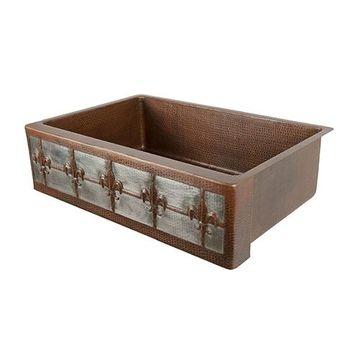 Premier Copper 33 Inch Fleur De Lis Copper & Nickel Kitchen Single Bowl Apron Sink