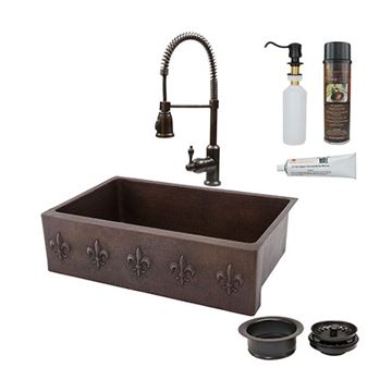 Premier Copper 33 Inch Fleur De Lis Copper Kitchen Single Basin Apron Sink & Faucet Package
