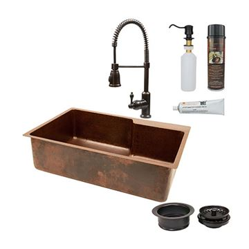 Premier Copper 33 Inch Hammered Copper Kitchen Single Bowl Faucet Deck Sink & Faucet Package
