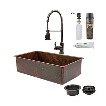 Premier Copper 33 Inch Hammered Copper Kitchen Single Bowl Sink & Faucet Package