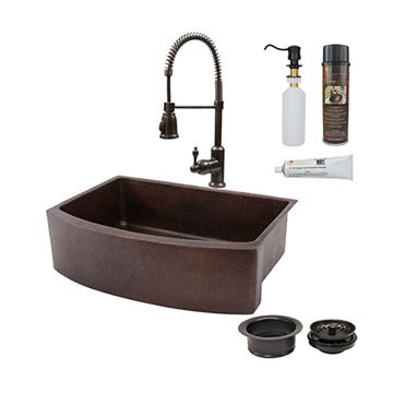 Premier Copper 33 Inch Rounded Copper Kitchen Single Basin Apron Sink & Faucet Package