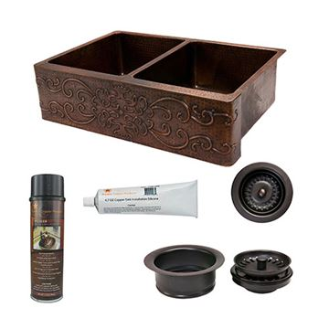 Premier Copper 33 Inch Scroll 50/50 Copper Kitchen Double Bowl Apron Sink & Accessory Package