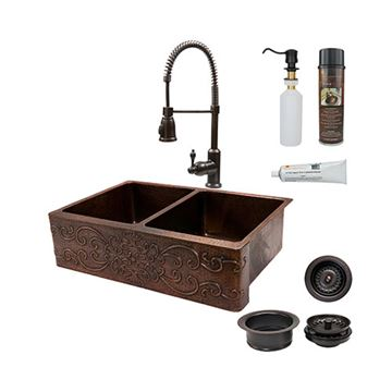 Premier Copper 33 Inch Scroll 50/50 Copper Kitchen Double Bowl Apron Sink & Faucet Package