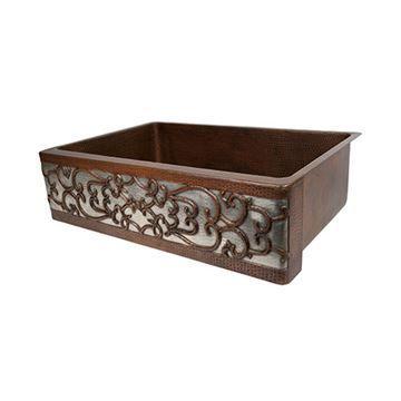 Premier Copper 33 Inch Scroll Copper & Nickel Kitchen Single Bowl Apron Sink
