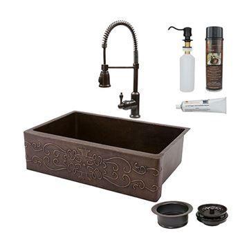 Premier Copper 33 Inch Scroll Copper Kitchen Single Basin Apron Sink & Faucet Package