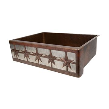 Premier Copper 33 Inch Star Copper & Nickel Kitchen Apron Single Bowl Sink