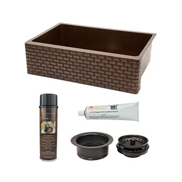 Premier Copper KSP3_KASDB33229B 33 Inch Tuscan Copper Kitchen Single Bowl Apron Sink & Accessory Package