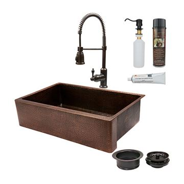 Premier Copper 35 Inch Copper Kitchen Single Basin Apron Sink & Faucet Package