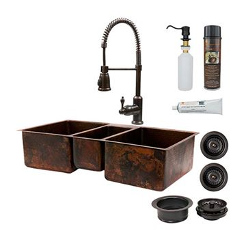 Premier Copper KSP4_KTDB422210 42 Inch Hammered Copper Kitchen Triple Bowl Sink & Faucet Package