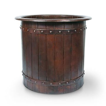 Premier Copper Barrel Strap Japanese Style Soaker Bath Tub