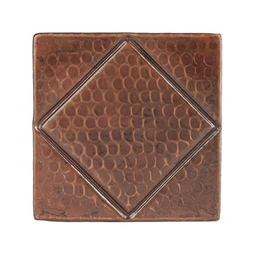 Premier Copper Diamond Hammered Copper Square Tile T4DBD