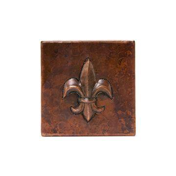 Premier Copper Fleur De Lis Hammered Copper Square Tile