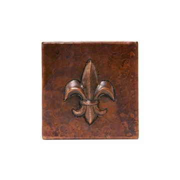 Premier Copper Fleur De Lis Hammered Copper Square Tile
