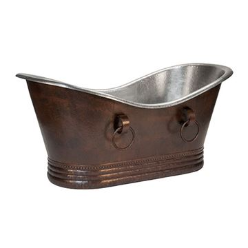 Premier Copper Hammered Copper & Nickel Double Slipper Bath Tub With Rings