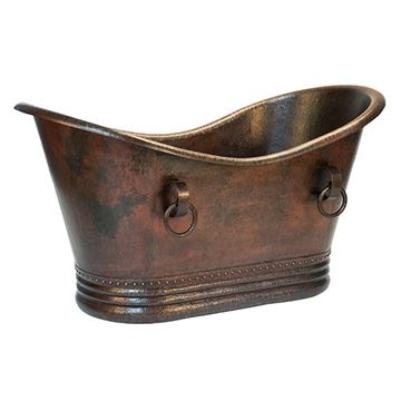 Premier Copper Hammered Copper Double Slipper Bath Tub With Rings