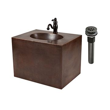 Premier Copper Hammered Copper Wall Mount Vanity & Faucet Package