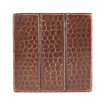 Premier Copper Linear Hammered Copper Square Tile