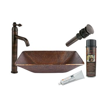 Premier Copper Modern Rectangle Hand Forged Copper Vessel Sink & Faucet Package