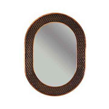 Premier Copper  MFO3526-BR Oval Braid Hammered Copper Mirror