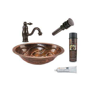 Premier Copper Oval Braid Under Counter Hammered Copper Sink & Faucet Package
