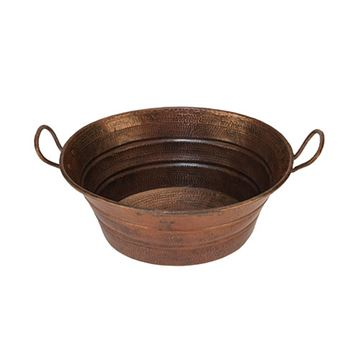 Premier Copper VOB16DB Oval Bucket Hammered Copper Vessel Sink With Handles