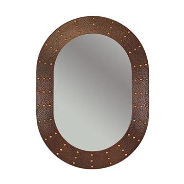 Premier Copper Oval Rivet Hammered Copper Mirror