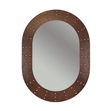 Premier Copper Oval Rivet Hammered Copper Mirror