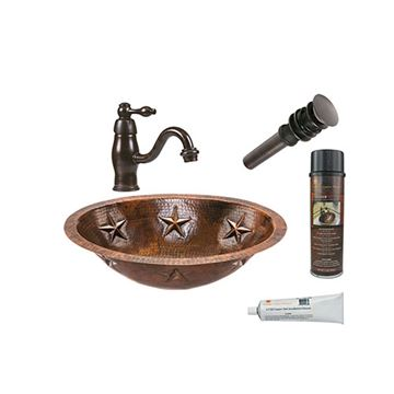 Premier Copper BSP3_LO19FSTDB Oval Star Under Counter Hammered Copper Sink & Faucet Package