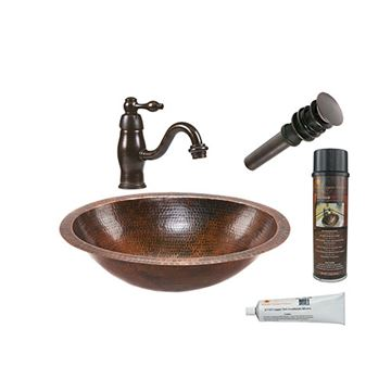 Premier Copper BSP3_LO19FDB Oval Under Counter Hammered Copper Sink & Faucet Package