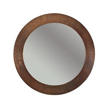 Premier Copper Plain Round Hammered Copper Mirror