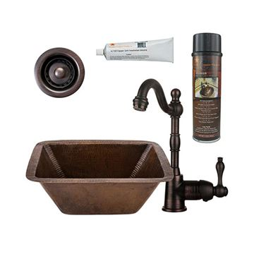 Premier Copper BSP4_BRECDB2-B Rectangle Copper Bar Prep Sink & Faucet Package
