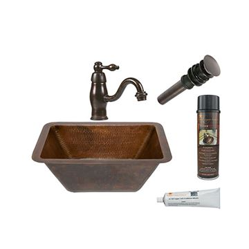 Premier Copper BSP3_LRECDB Rectangle Hammered Copper Sink & Faucet Package