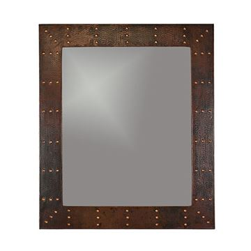 Premier Copper Rectangle Rivet Hammered Copper Mirror