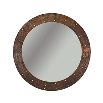 Premier Copper Round Rivet Hammered Copper Mirror