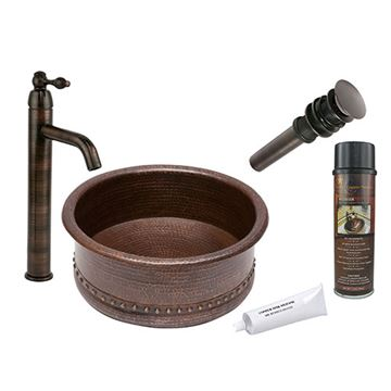 Premier Copper Round Tub Hammered Copper Vessel Sink & Faucet Package