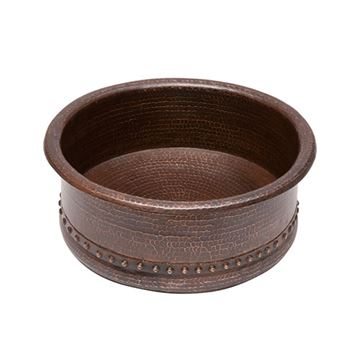 Premier Copper Round Tub Hammered Copper Vessel Sink