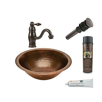 Premier Copper Round Under Counter Hammered Copper Sink & Faucet Package