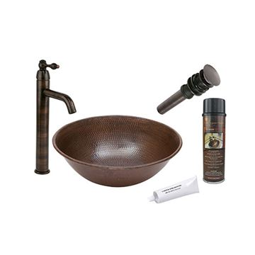 Premier Copper Round Wire Rimmed Hammered Copper Vessel Sink & Faucet Package