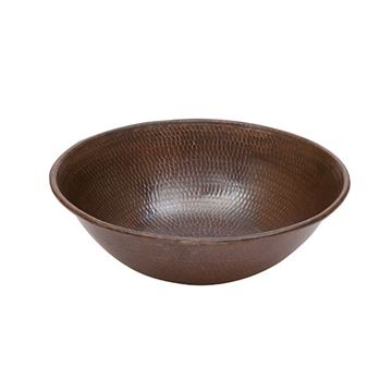 Premier Copper Round Wire Rimmed Hammered Copper Vessel Sink