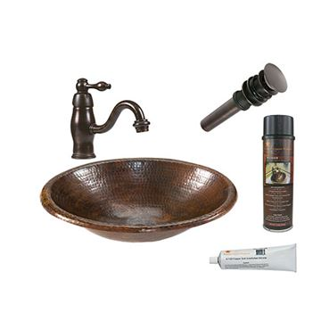 Premier Copper  BSP3_LO17FDB Small Oval Under Counter Hammered Copper Sink & Faucet Package