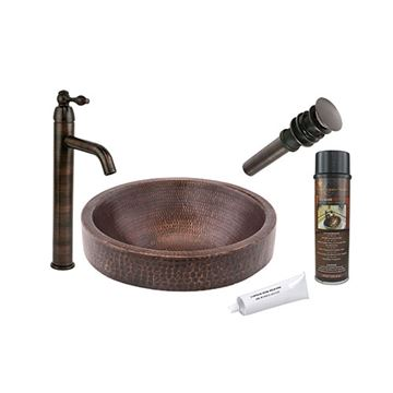 Premier Copper Small Round Skirted Hammered Copper Vessel Sink & Faucet Package