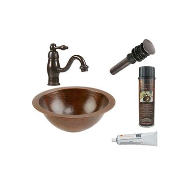 Premier Copper Small Round Under Counter Hammered Copper Sink & Faucet Package