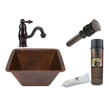 Premier Copper Square Hammered Copper Sink & Faucet Package
