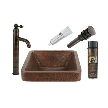 Premier Copper Square Skirted Hammered Copper Vessel Sink & Faucet Package