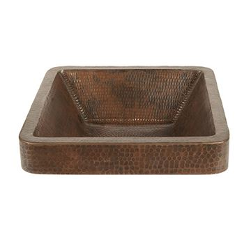 Premier Copper Square Skirted Hammered Copper Vessel Sink